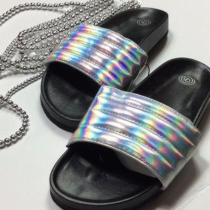 Iridescent metallic poolside sandals slides